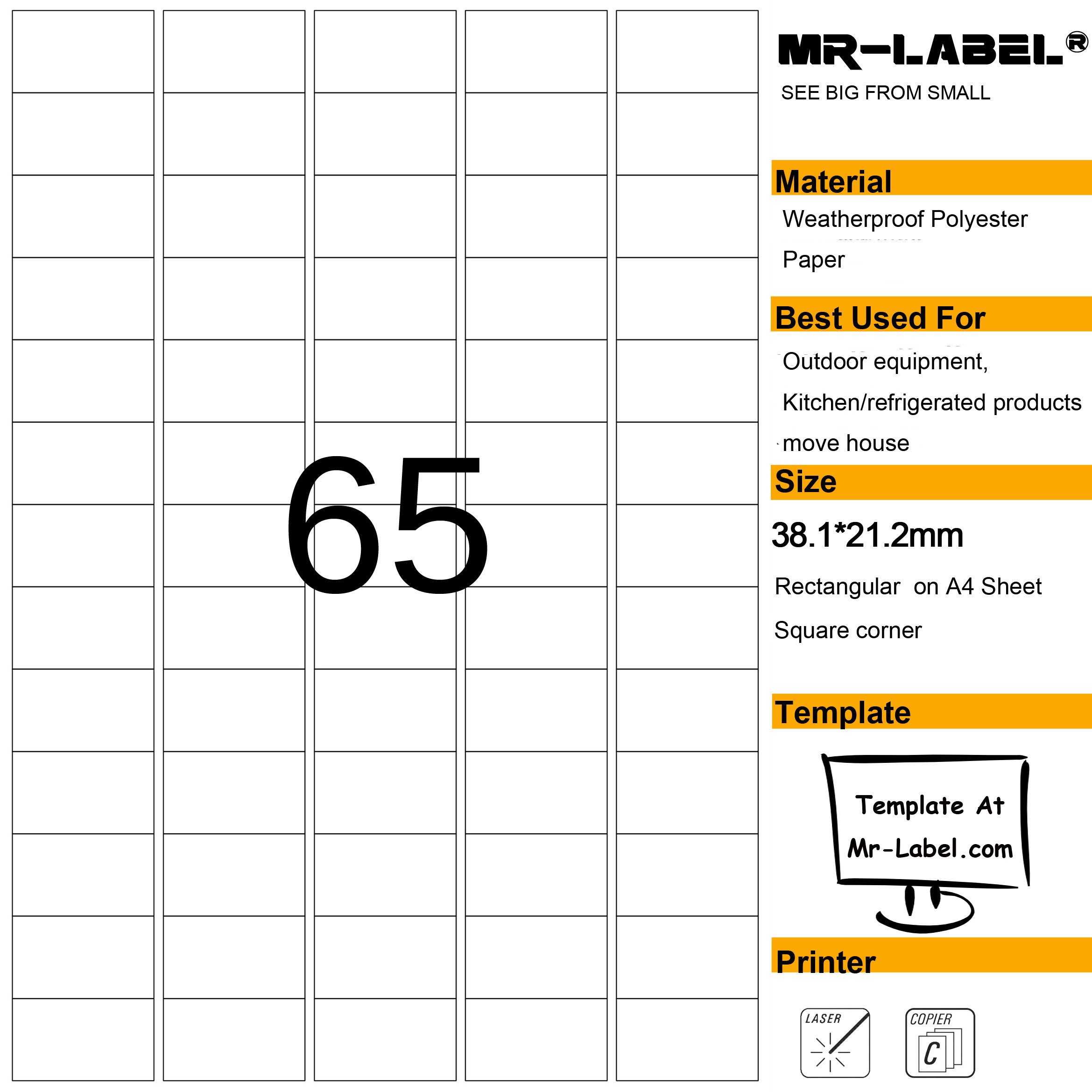 Mr-Label Waterproof Removable Adhesive Food Labels - Tear-resistant stickers for Kitchen use | Barcode Label - Laser Printer Only (Size: 23.238.1mm)