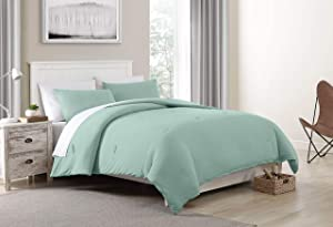 Morgan Home Fashions Jersey Knit Comforter Set- Soft Cozy and Lightweight Keeps You Warm and Comfortable All Year (Surf Spray, Twin)
