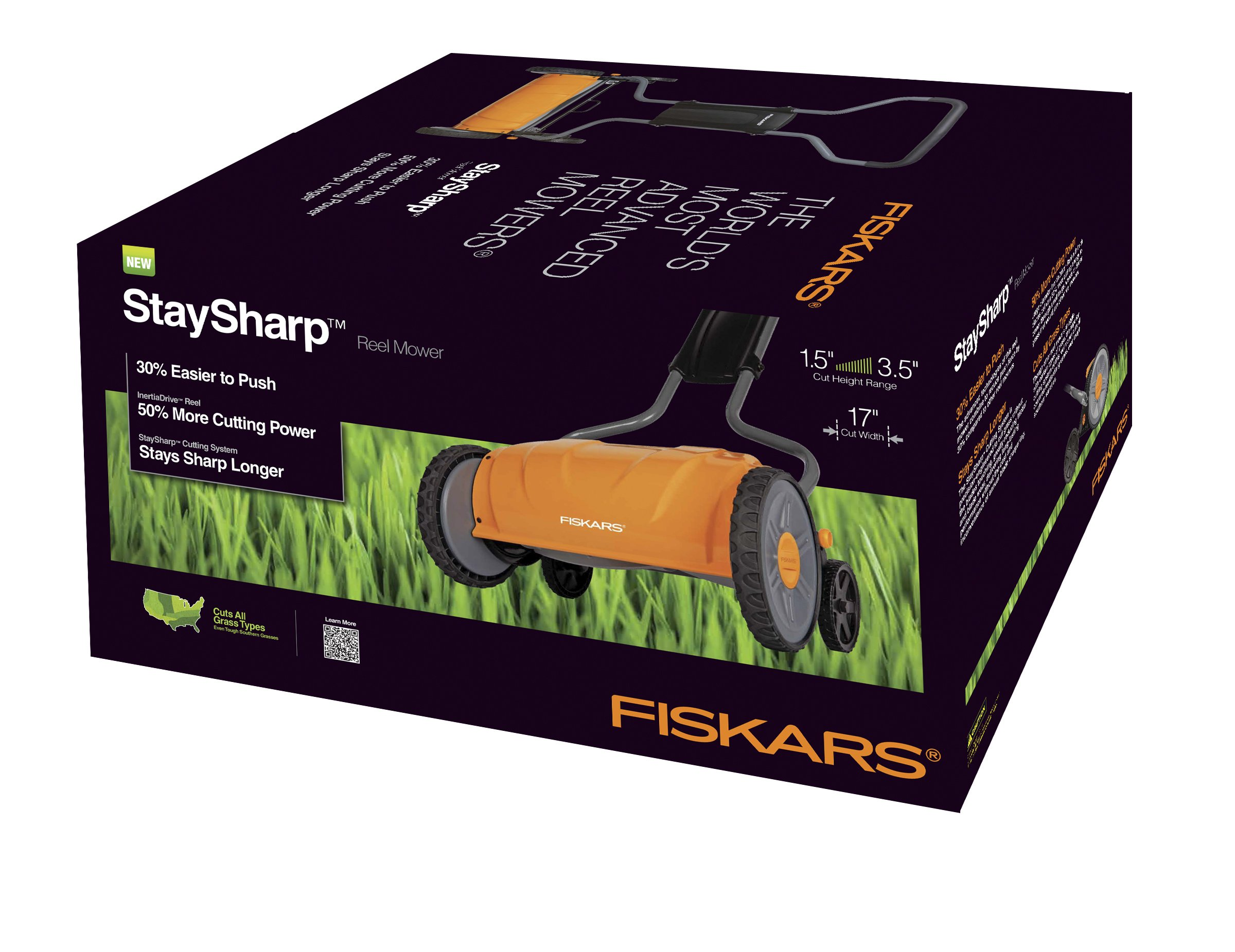 Fiskars 17 inch Staysharp Push Reel Lawn Mower (6208) (Pack of 2) 5 The smart design of our eco-friendly reel mower offers a cleaner cut without the hassles of gasoline, oil, battery charging, electrical cords or loud engine noise A combination of advanced technologies make the StaySharp Reel Mower 30 percent easier to push than other reel mowers Patent-pending InertiaDrive Reel delivers 50 percent more cutting power to blast through twigs, weeds and tough spots that would jam other reel mowers