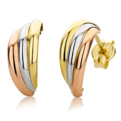 22be4ecf6 Miore Earrings Women Tricolor - Yellow Gold White Gold and Rose Gold 9 Kt /  375: Amazon.co.uk: Jewellery
