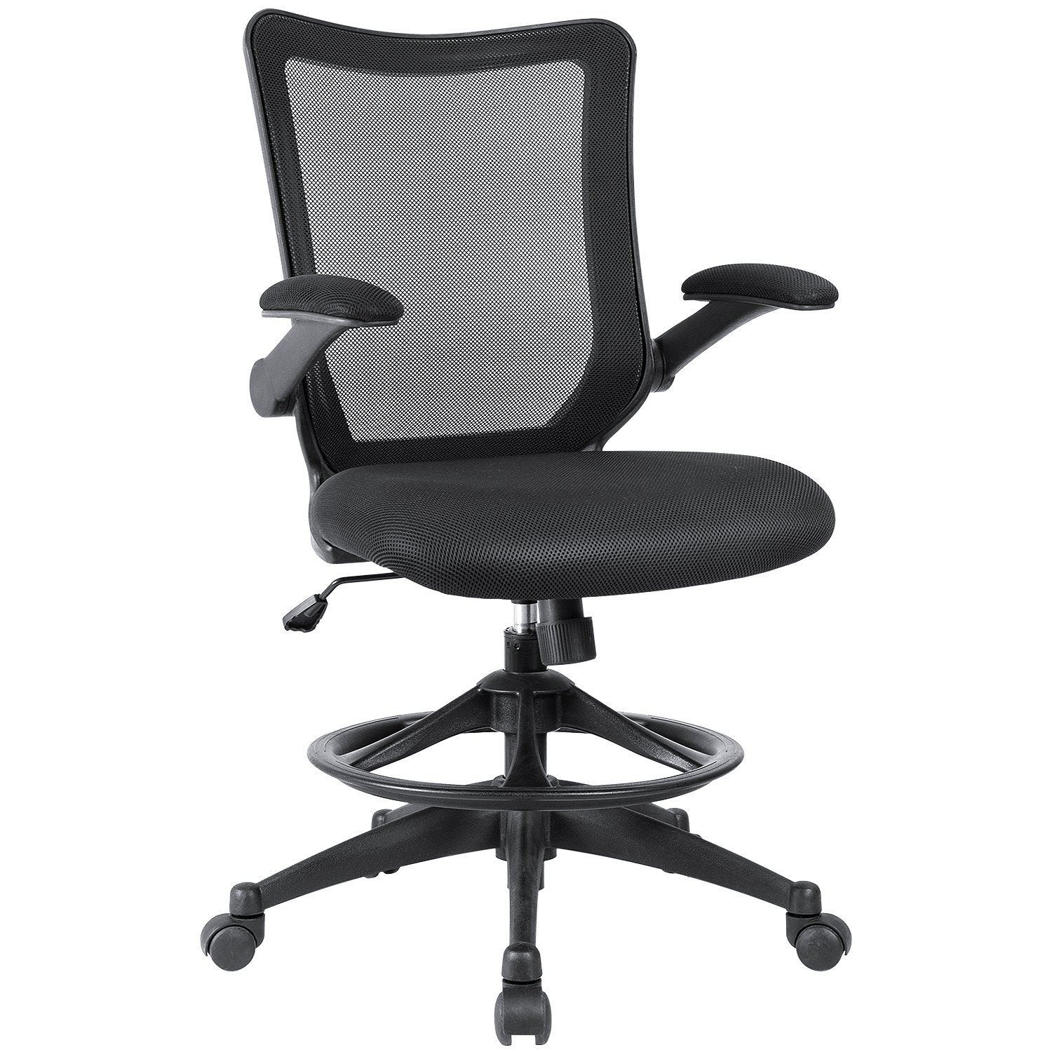 Devoko Office Chair Black Back Tall Drafting Chair Swivel Mesh Desk Chair, Flip up Arms Task Chair with Adjustable Footrest Ring (Black)
