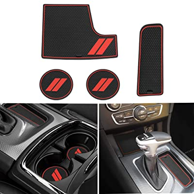 Mekar Anti-dust Custom Fit for 2015-2020 Dodge Charger Cup Holder Insert & Center Console Shifter Liner Trim Mats | 4pc Custom Fit Non Slip Storage Bin Mat Set Interior Accessories: Automotive