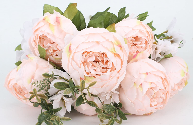 Duovlo Fake Flowers Vintage Artificial Peony Silk Flowers Wedding