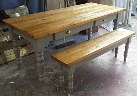 Shabby Chic Farmhouse Table And 2x Benches Set Amazon Co Uk