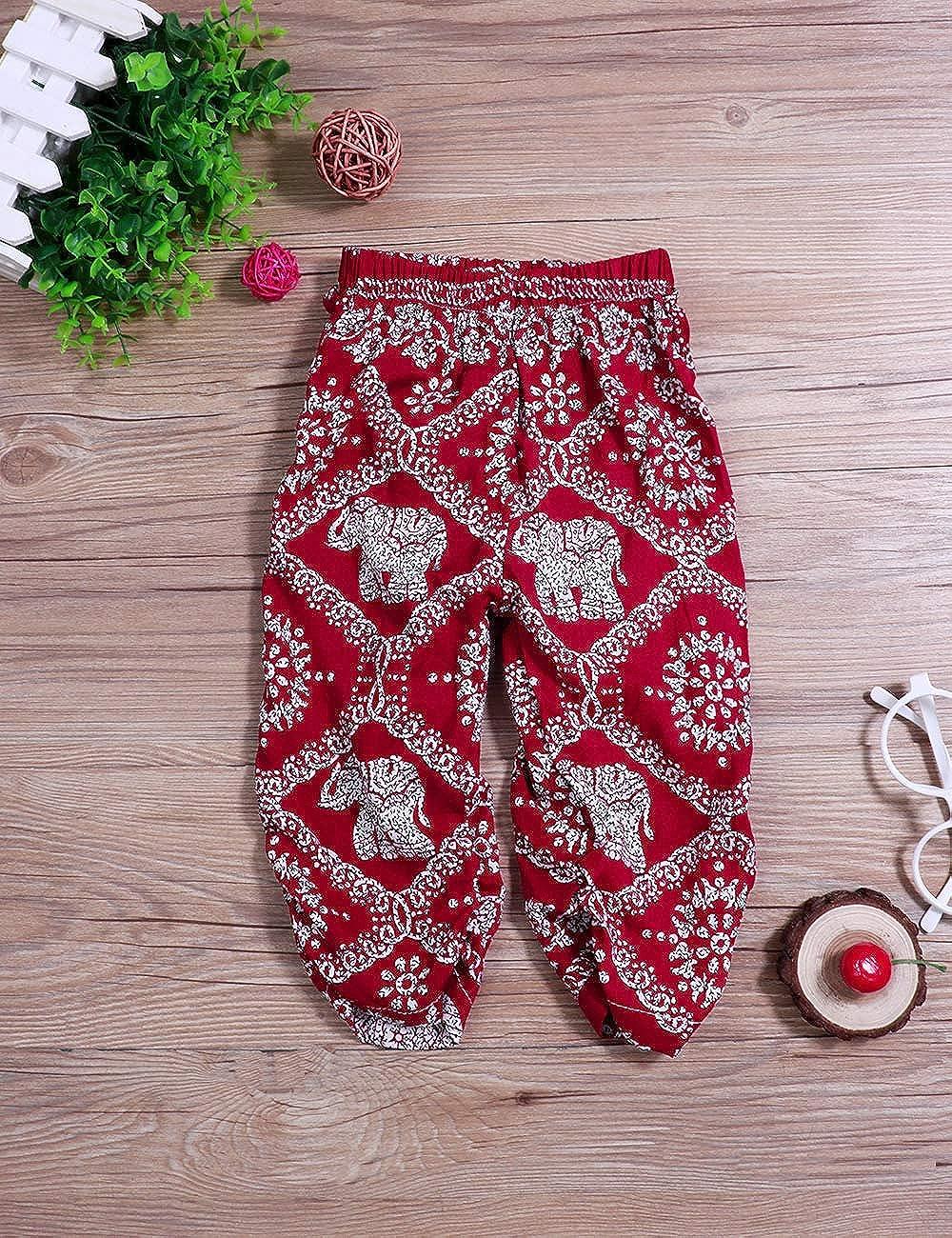 Oklady Little Girls Clothes Summer Straps Shorts Set Elephant Sleeveless Tops+Harem Pants 2Pcs Outfits for Toddler Girls