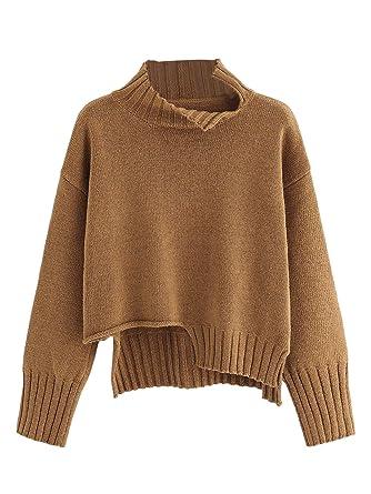 e6f2bda6fa1 MAKEMECHIC Women's High Neck Drop Shoulder Knitted Sweater High Low ...