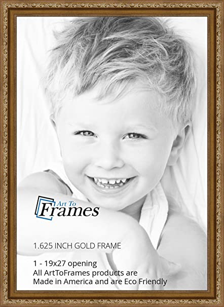 amazoncom arttoframes 19x27 19 x 27 picture frame gold with beads 1625 wide 2womd10051 single frames