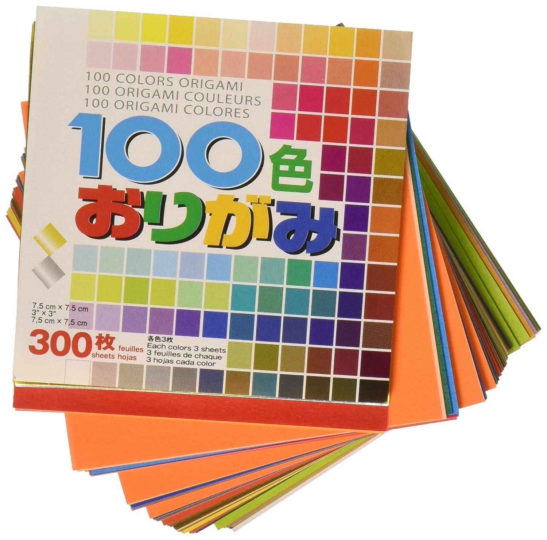 Aitoh Carta per Origami, 3'X 3' 300 pezzi, 100 colori 3X 3 300 pezzi S100C