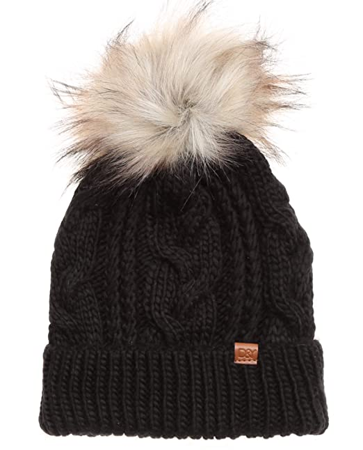 2591a8221 MIRMARU Kids Youth Boys & Girls Ages 7-12 Winter Thick Stretchy Cable  Knitted Pom Pom Beanie Hat