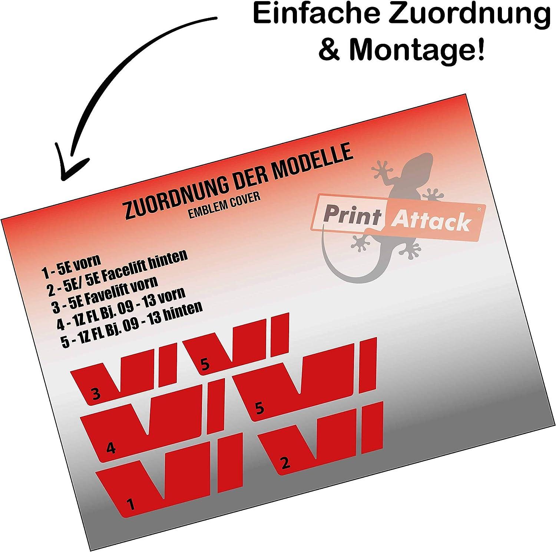 P029 Printattack Emblem Folie Cover Set Passend Für Die Innenflächen Logo Aufkleber Skin Kühlergrill Pink Auto
