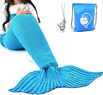Amazon Com Laghcat Mermaid Tail Blanket Crochet Mermaid Blanket For Kids Soft All Seasons Sleeping Blankets Classic Pattern 56 X28 Blue Home Kitchen