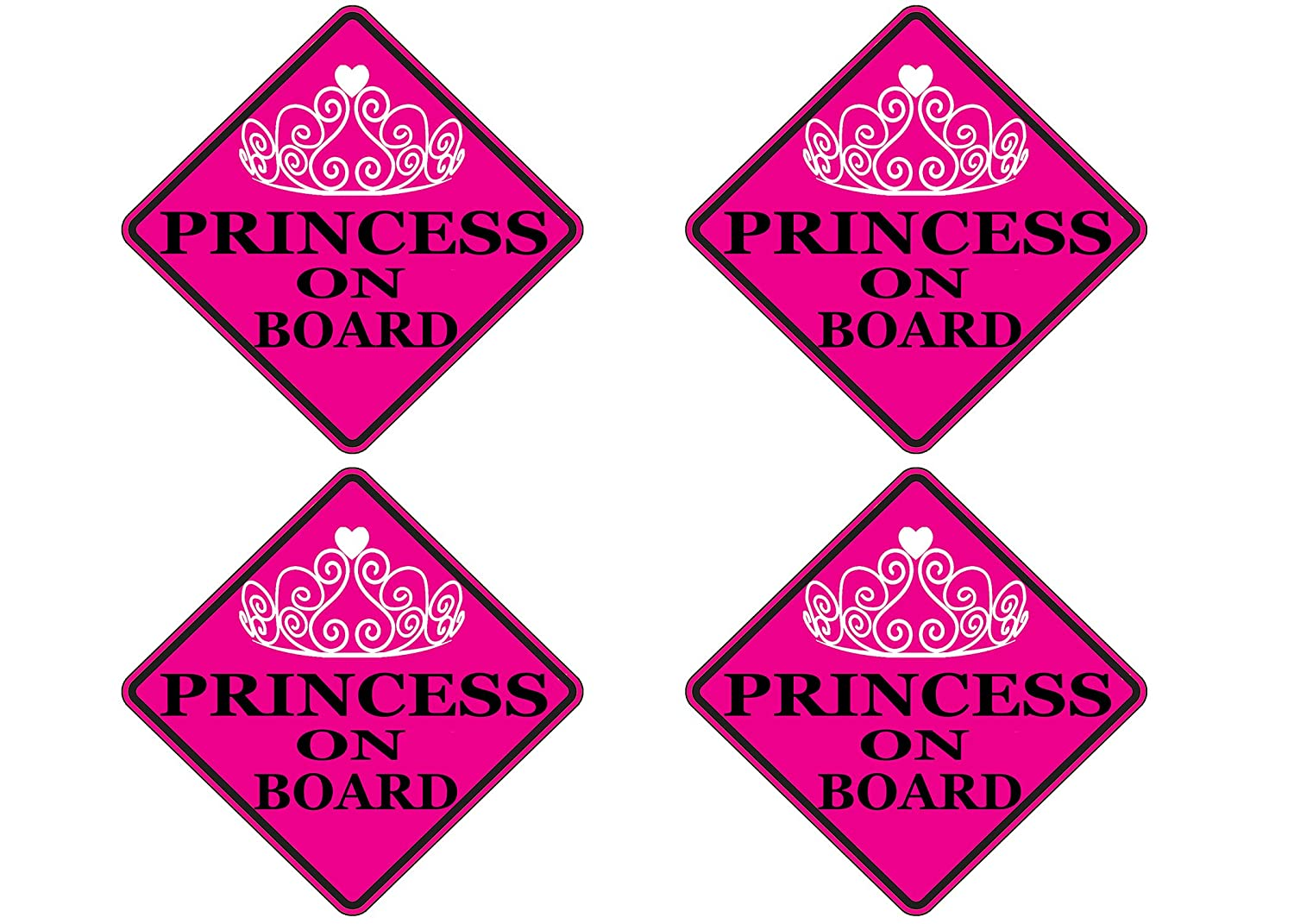 4 Rogue River Tactical Pink Princess On Board Sticker Car Window Decal Bumper for Girl Daughter Vehicle Safety Sticker Sign for Car Truck SUV