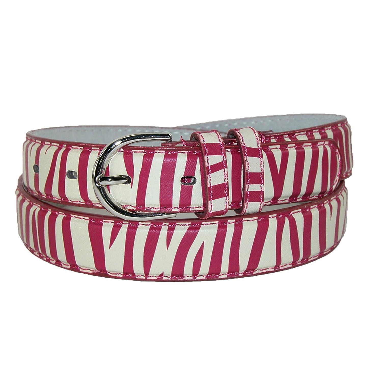 CTM Women's Leather Zebra Print Dress Belt