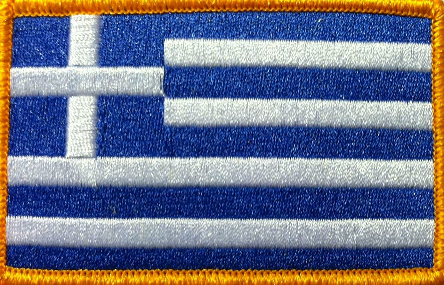 Greece Emblem Greek Flag On Embroidered Applique Patch {Blue Single Count and Gold Colors} Custom and Unique White 3 1//2 by 2 1//4 Inches
