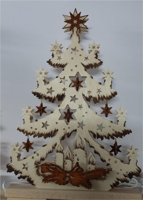 3d Schwibbogen Tanne mit braune Sterne Original Erzgebirge Handarbeit RATAGS Doppelschwibbogen wunderschöne Dekoration für Weihnachten