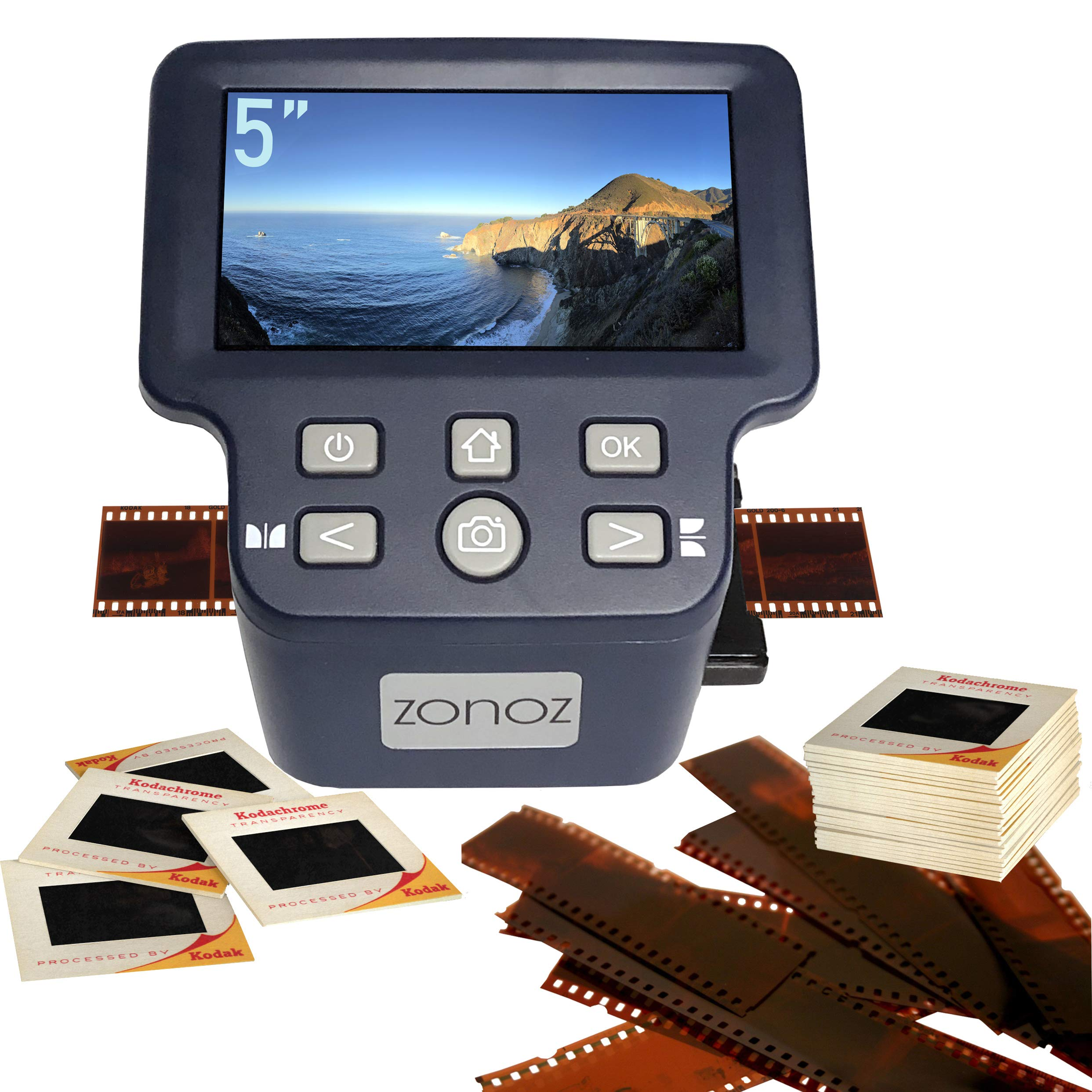 zonoz FS-Four Digital Film & Slide Scanner Converter w/HDMI Output - Converts 35mm, 126, 110, Super 8 & 8mm Film Negatives & Slides to JPEG - Large 5'' LCD, Easy-Load Adapters (Worldwide 110V-220V) by zonoz (Image #1)