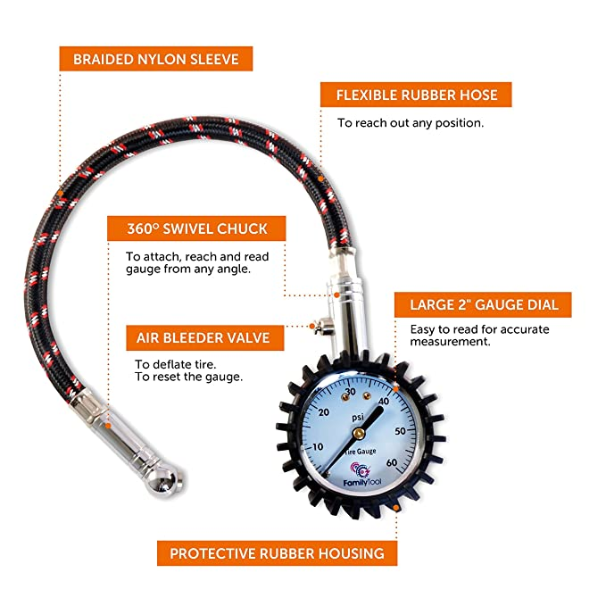 Amazon Com Tire Pressure Gauge Heavy Duty Reliable And Accurate