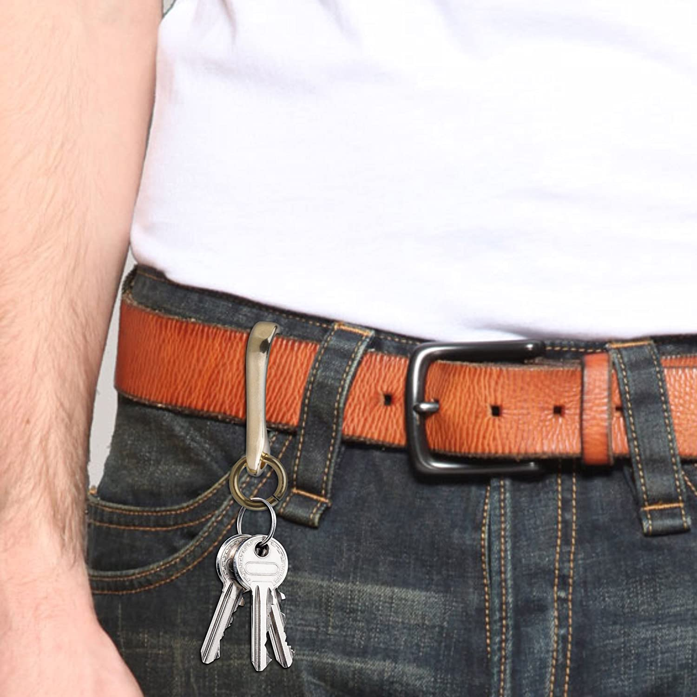 BCP 2pcs Brass Belt Keyring U Hook FOB Clip Biker for Key Chain Wallet Chain 4350397527