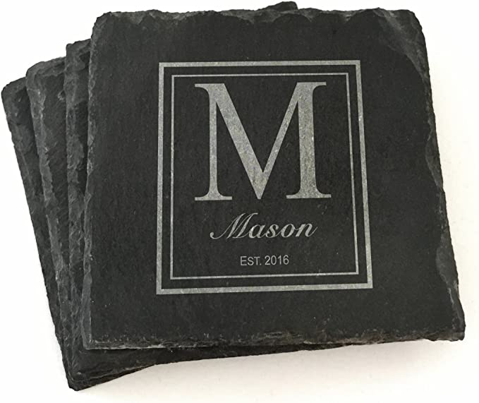Custom Monogram Sandstone Coasters For Table Top Protection Personalized Wedding Gift Cork Back Coasters Gift set Family Name Coasters