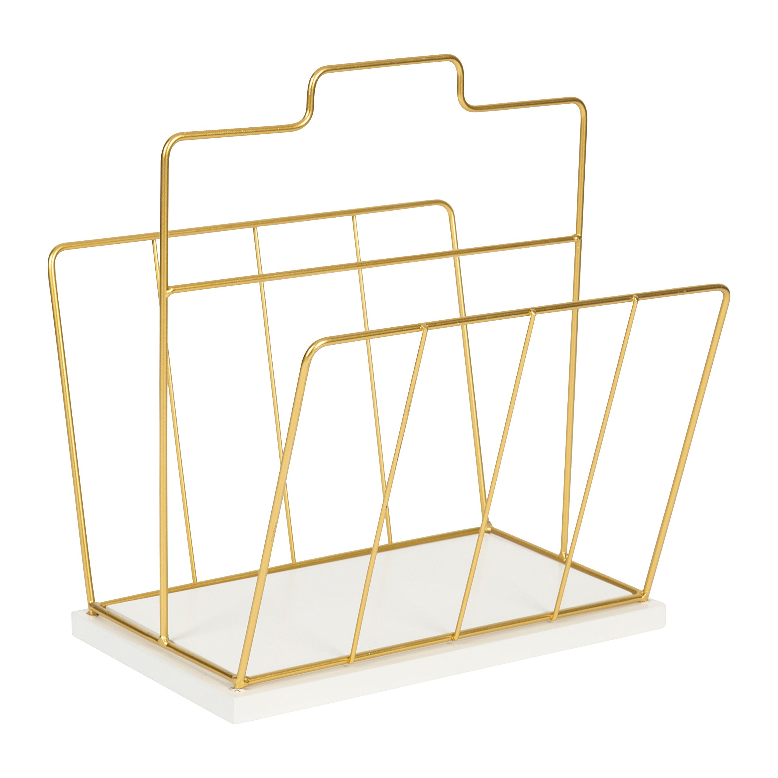 Kate and Laurel Benbrook Metal and Wood Magazine File Holder Desk Organizer, White and Gold