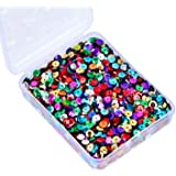 Whaline Bulk Loose Sequins Cup Sequin Iridescent Spangles Flat beads with Storage Box for Crafts, Sewing, Sequin Slime, Wedding Decoration, 80 Grams, 6 mm