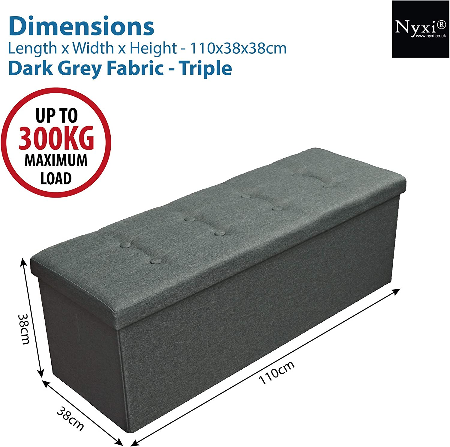 Living Room Gray Hallway Bedroom 110 * 38 * 38cm King Nyxi Ottoman Foldable Storage Boxes Seat Foot Stool Storage Box with Lids for Kids Toys