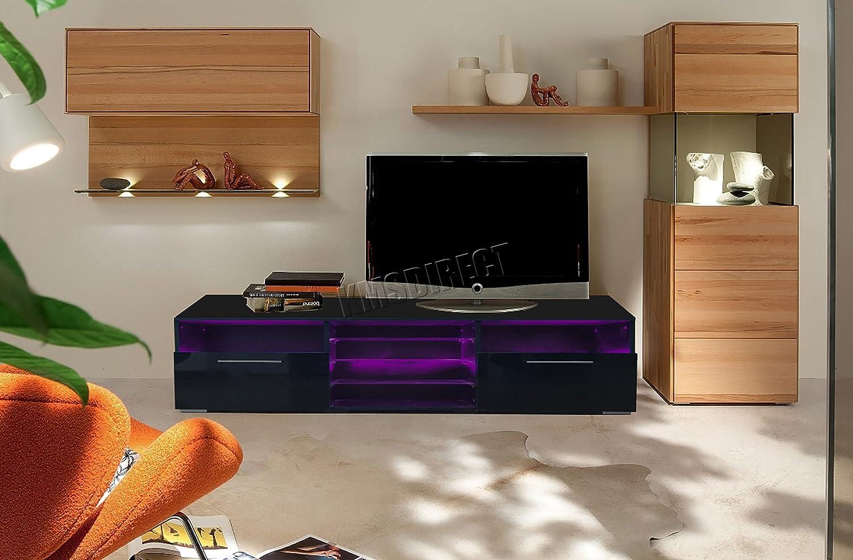 FoxHunter Modern High Gloss Matt TV Cabinet Unit Stand Black RGB LED Light Home Furniture TVC11 146cm KMS
