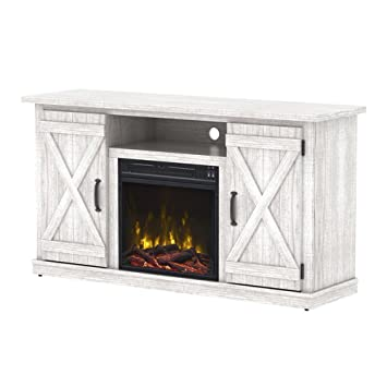 Amazon Com Industrial Tv Stand With Fireplace Antique Rustic Look