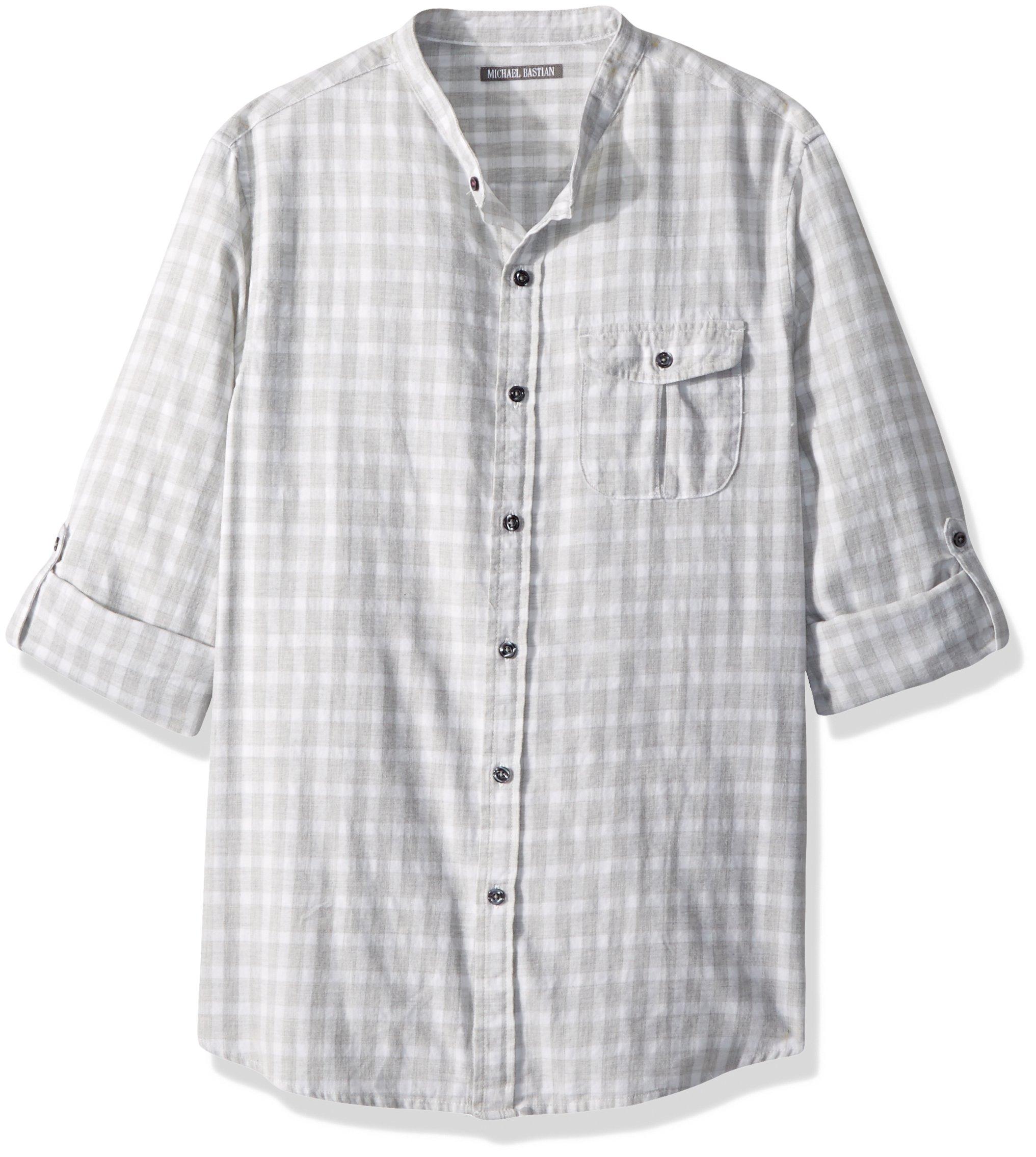 Michael Bastian Men's Long Sleeve Band Collar Windowpane Plaid Woven Shirt, Heather Gray, Large