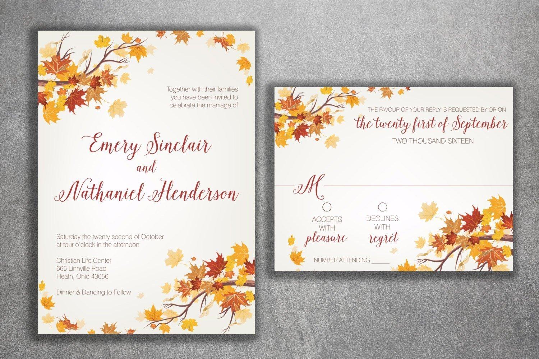 Amazon Autumn Wedding Invitation Set Fall September Invitations Leaves October Maroon And Orange: Simple Fall Wedding Invitations At Reisefeber.org