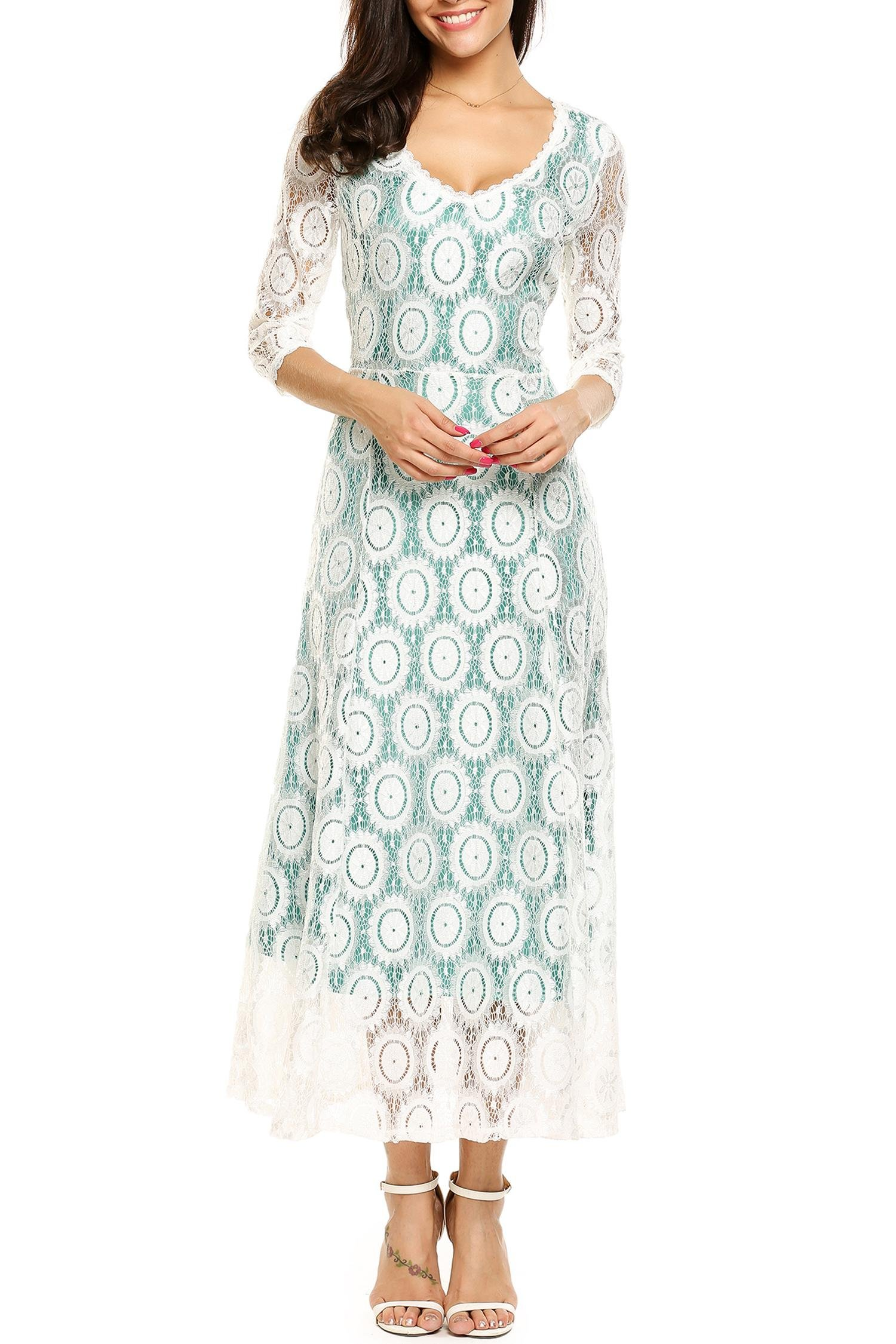 cde6425f0a8 ANGVNS Women s Floral Lace Shimmering Lining A Line Prom Maxi Long Dress