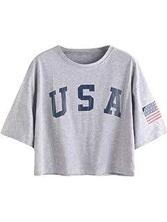 e7dda7193b5 HUILAN Women's USA Letter Print Crop Tops Summer Short Sleeve T-Shirt