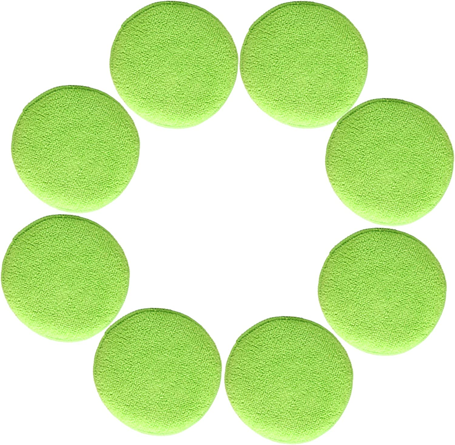 6 Pack, 13 cm Round, Green Polyte Microfibre Buffing and Cleaning Pad