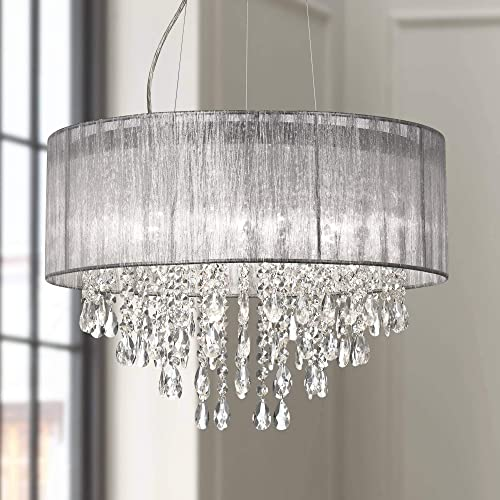 Jolie Chrome Drum Chandelier 20 Wide Modern Crystal Silver Fabric Shade Fixture for Dining Room House Foyer Kitchen Island Entryway Bedroom Living Room – Possini Euro Design