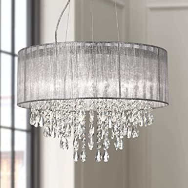 Possini Euro Jolie 20 W Silver Fabric Crystal Chandelier – Possini Euro Design
