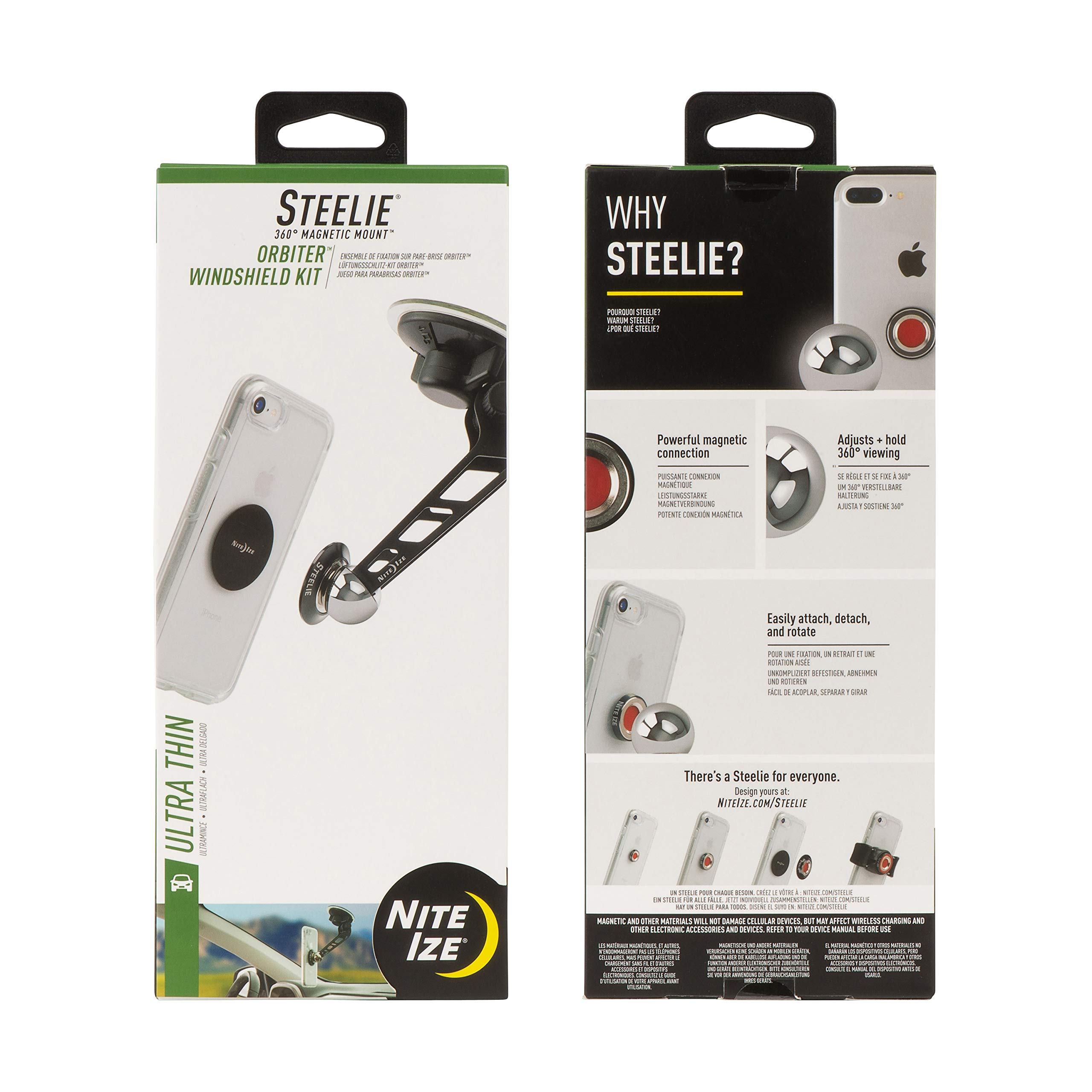 Nite Ize Original Steelie Orbiter Windshield Mount Kit - Low Profile Magnetic Car Windshield Mount for Smartphones