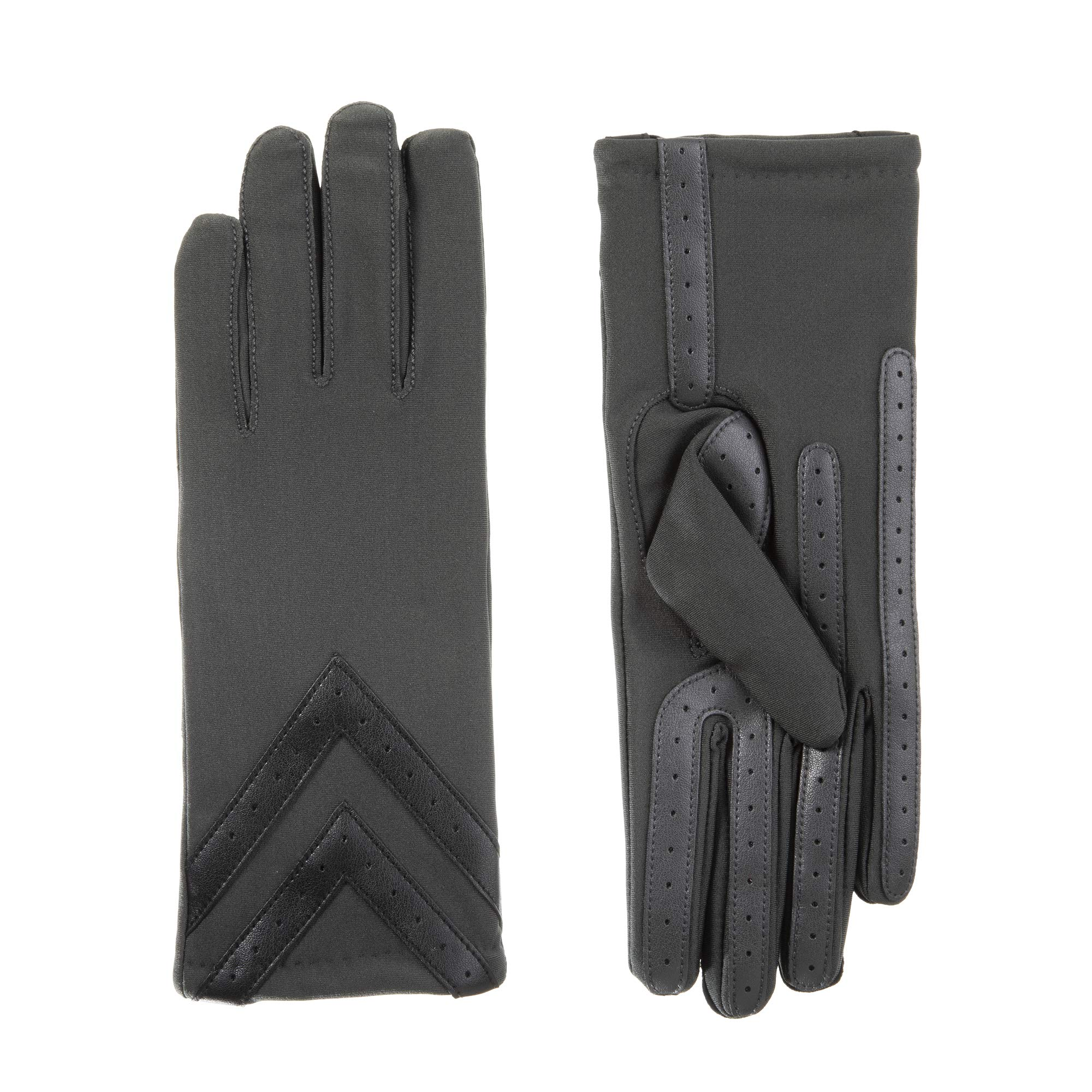 Womens Spandex Touchscreen Cold Weather Gloves with Warm Fleece Lining and Chevron Details