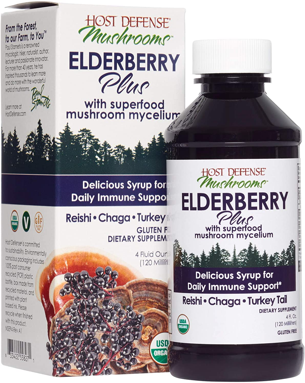 Host Defense, Elderberry Plus Syrup, Superfood Immune Support with Mushroom Mycelium and Elderberries, 4 Oz
