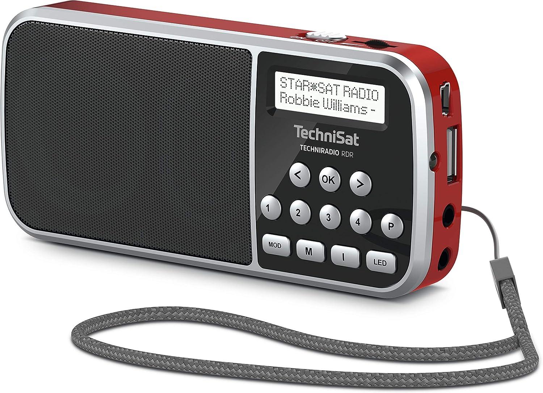 Technisat Techniradio Rdr Portables Dab Ukw Radio Lcd Display Favoritenspeicher Direktwahltasten Kopfhöreranschluss Usb Aux In Led Taschenlampe Wechselbarer Akku 1watt Klein Rot Heimkino Tv Video