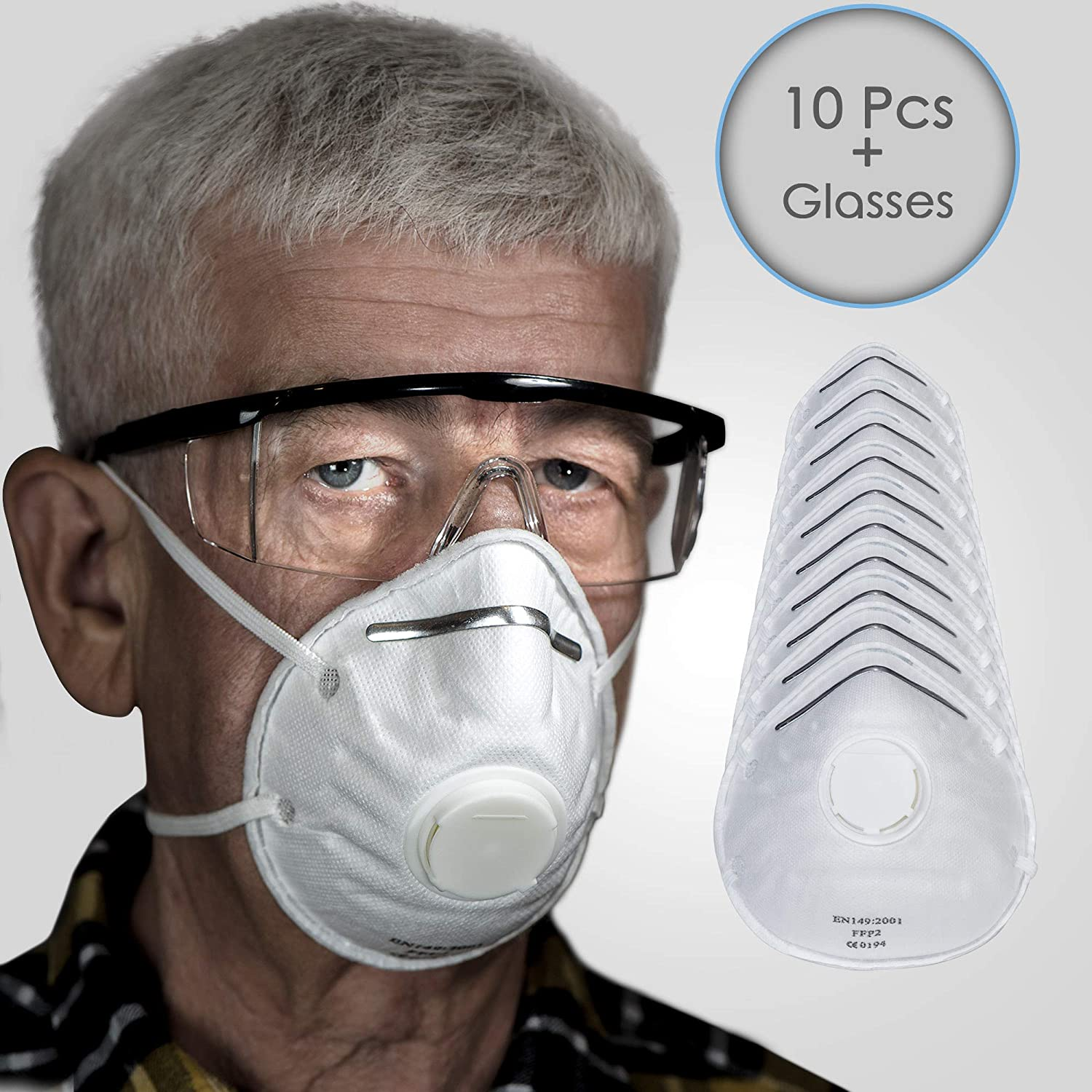Mask N95 With Particulate Pack Respirator 10 Valve Masks Dust