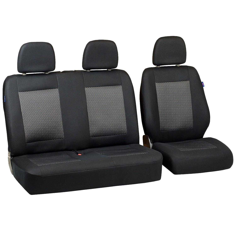 Zakschneider Coprisedile per Nissan CABSTAR Colore Premium Nero con Triangoli Grigi Set di Coprisedili 1+2