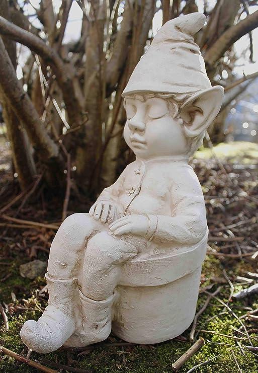 Garden Mile® - Estatua de jardín con diseño de elfo durmiendo en maceta de flores, efecto