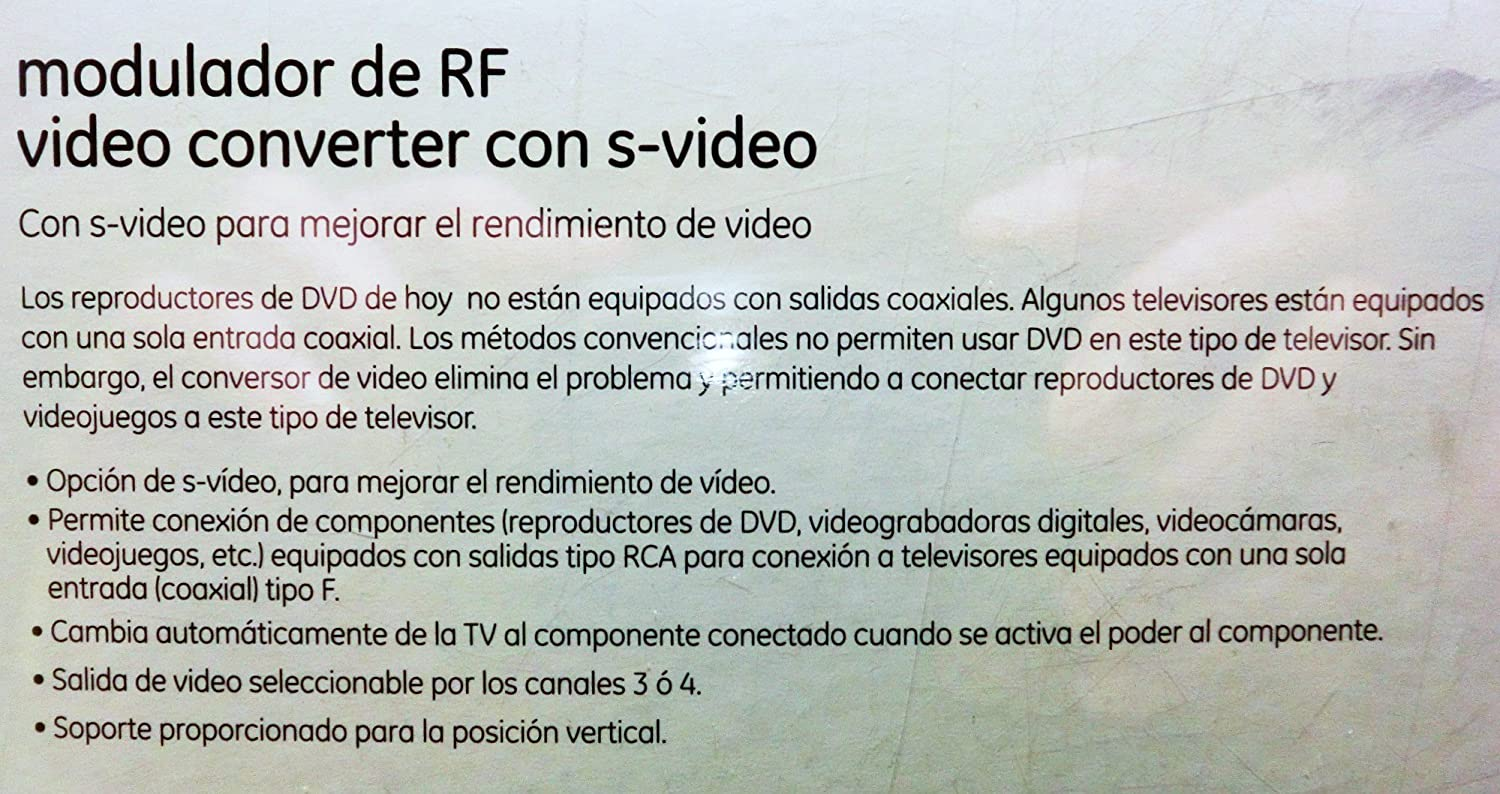 Amazon.com: GE RF Modulator Video Converter with S-Video & RCA Input / F Jack Output: Home Audio & Theater
