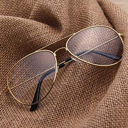 fb82b511efbe1c Forepin ® Lunettes de Vue Unisex Monture Metalique Cadre Frame Lentille  pour Homme et Femme Adultes Vintage Verre Transparent Style ...