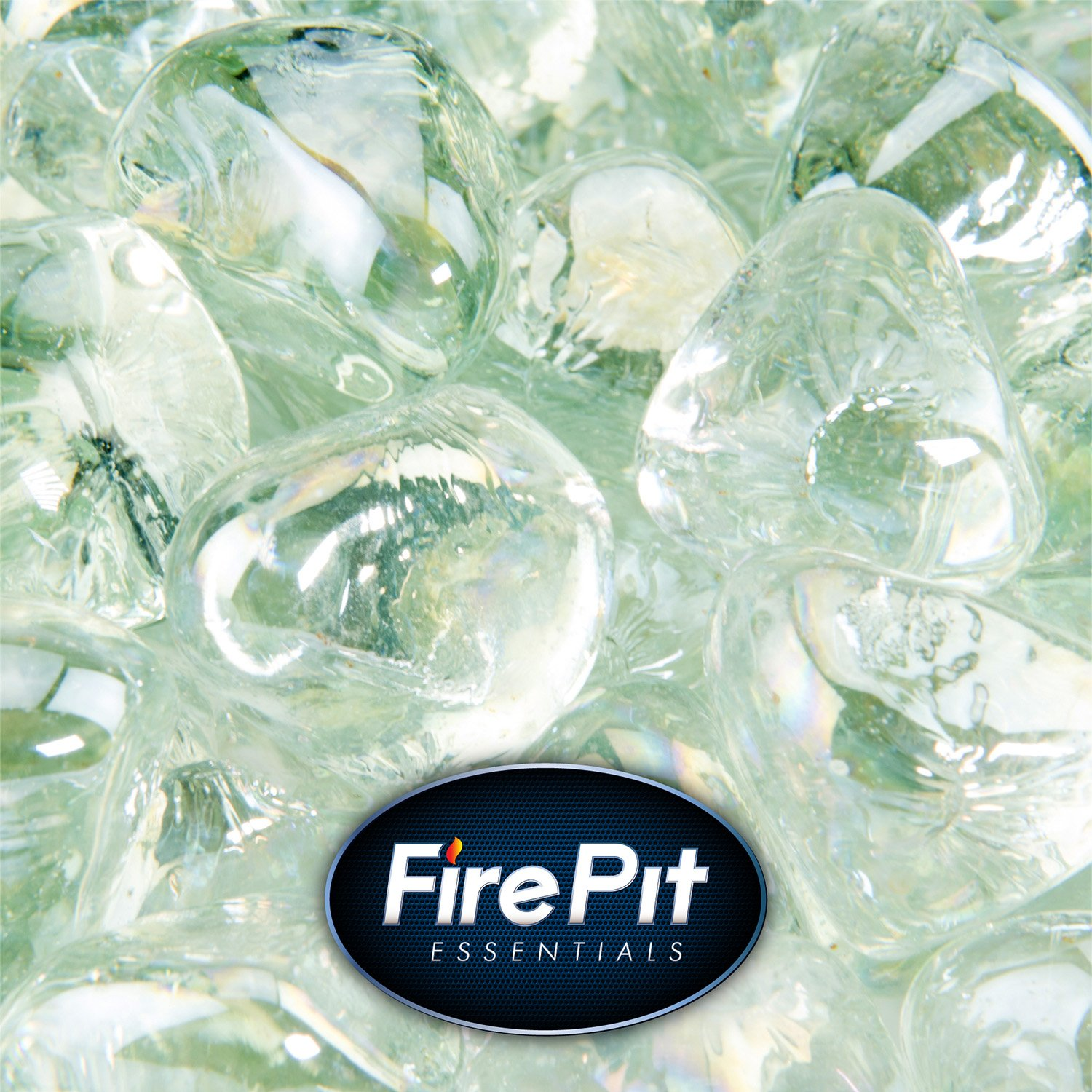 Clear Fire Glass for Indoor and Outdoor Fire Pits or Fireplaces | 10 Pounds | Arctic Ice, Fire Glass Diamonds, 1 Inch
