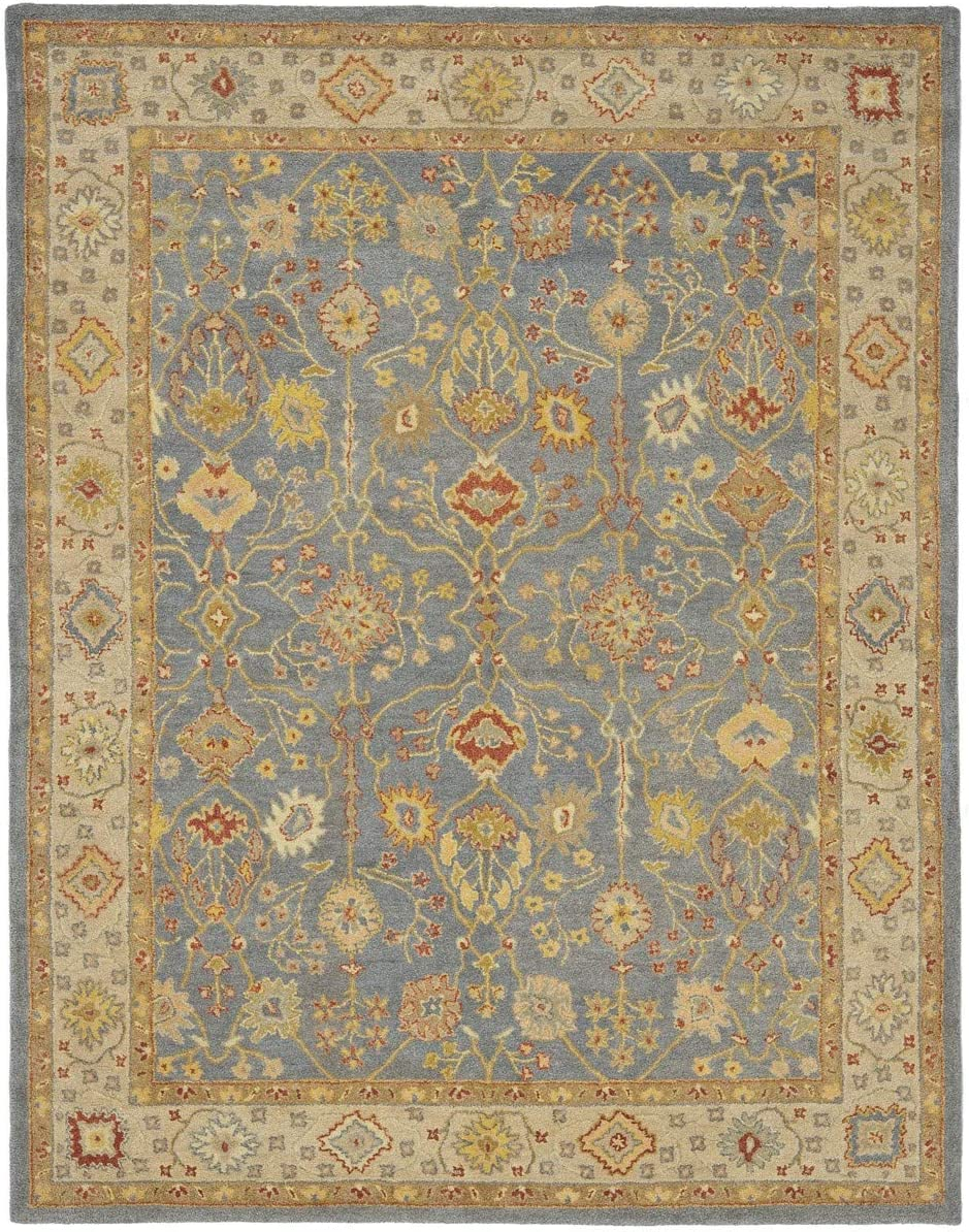 Safavieh Antiquities Collection AT314A Handmade Traditional Oriental Blue and Ivory Wool Area Rug 11 x 15