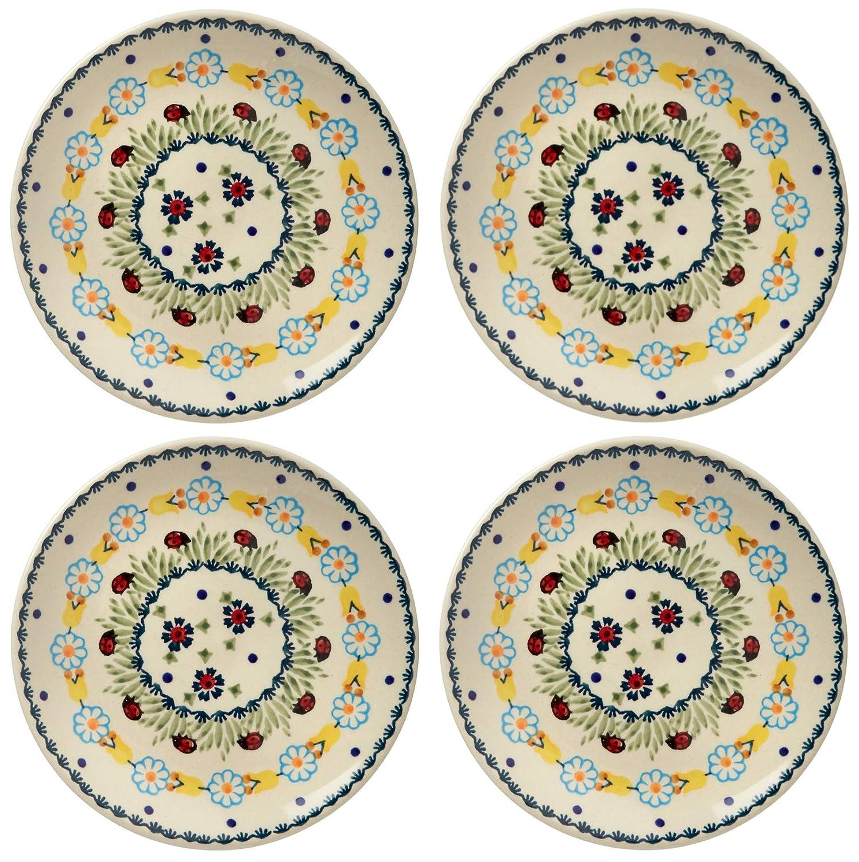 Set of 4 Salad Plates 7.25 Diameter Polish Pottery Ladybug Floral Chain