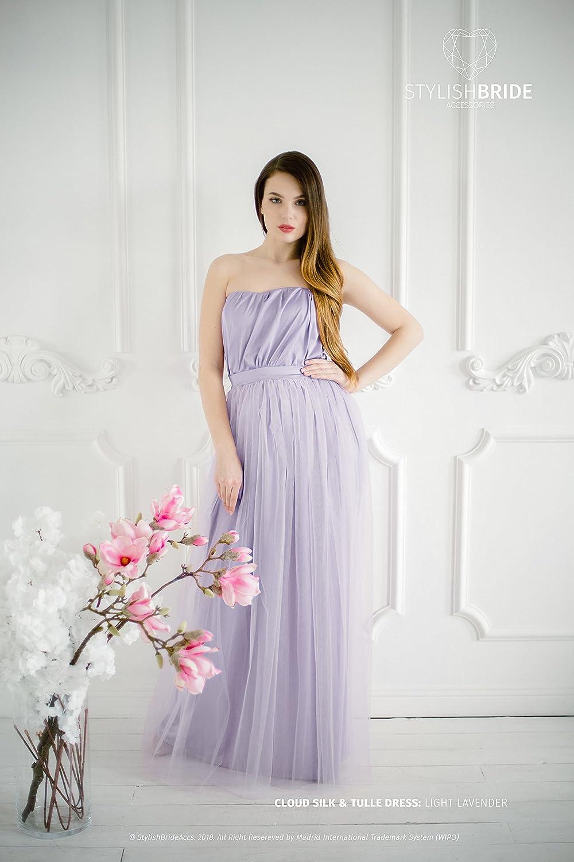 Amazon.com: Cloud in Light Lavender Bridesmaid Dress, Tulle ...