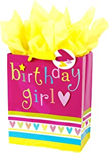 "Hallmark 13"" Large Gift Bag with Tissue Paper (Pink and Yellow Birthday Girl) for Birthdays, Kids Parties and More"