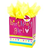 """Hallmark 13"""" Large Gift Bag with Tissue Paper (Pink and Yellow Birthday Girl) for Birthdays, Kids Parties and More"""